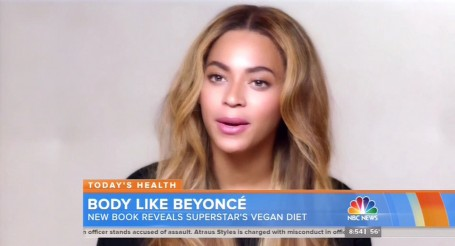 "30 April 2015-NYC-USA  **** STRICTLY NOT AVAILABLE FOR USA ***    Singer Beyonce broke into laughter as she admitted that she isnt able to stick to a 100% plant based diet that she thought was so good that she invested in it! The singer partnered up with exercise physiologist and dietician Marco Borges to launch a Plant Based Diet business venture after trying it on herself. Looking make-up free and bright faced, Beyonce said: ""I remember being on so many diets and Marco coming up with really creative ways to help me with my diet so i didn't feel like i was depriving myself"" She then added: ""Whether or not you have aspirations of a diet that is 100% plant based, because i cant do it (she said whilst bursting out laughing), just eating more vegetables and figuring out a better way to incorporate vegetables for 22 days you'll be so surprised at your journey"" Beyonce bought into it and partnered with Marco Borges to launch the  plant based business venture that includes a meal delivery service as well as publishing a book called The 22-Day Revolution Borges said: ""Its not about perfection, its about progression""        XPOSURE PHOTOS DOES NOT CLAIM ANY COPYRIGHT OR LICENSE IN THE ATTACHED MATERIAL. ANY DOWNLOADING FEES CHARGED BY XPOSURE ARE FOR XPOSURE'S SERVICES ONLY, AND DO NOT, NOR ARE THEY INTENDED TO, CONVEY TO THE USER ANY COPYRIGHT OR LICENSE IN THE MATERIAL. BY PUBLISHING THIS MATERIAL , THE USER EXPRESSLY AGREES TO INDEMNIFY AND TO HOLD XPOSURE HARMLESS FROM ANY CLAIMS, DEMANDS, OR CAUSES OF ACTION ARISING OUT OF OR CONNECTED IN ANY WAY WITH USER'S PUBLICATION OF THE MATERIAL.     BYLINE MUST READ : NBC/XPOSUREPHOTOS.COM  PLEASE CREDIT AS PER BYLINE *UK CLIENTS MUST CALL PRIOR TO TV OR ONLINE USAGE PLEASE TELEPHONE  44 208 344 2007"