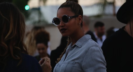 """Beyoncé shows off her hot new Summer look and stuns patrons with wine colored lips, light wash denim and hair pulled back into a neat side braid at Wes Lang's solo exhibit """"The Longest Night of The Year"""", held at Milk Studios in downtown Los Angeles.  Pictured: Beyoncé Ref: SPL850588  200615   Picture by: Eric Minh Swenson  Splash News and Pictures Los Angeles:310-821-2666 New York:212-619-2666 London:870-934-2666 photodesk@splashnews.com"""